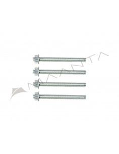 Jeu de 4 tiges filetées en acier galvanisé M12 longueur 13 cm