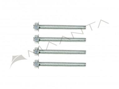 Jeu de 4 tiges filetées en acier galvanisé M10 longueur 12 cm