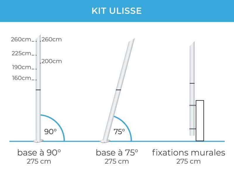 Fixation Voile D Ombrage ulisse - mât en acier pour voiles d'ombrage hauteur variable
